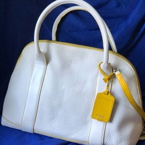 Coach white and yellow leather bag